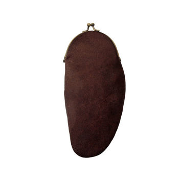Art purse Bob | brown leather ladies hand stitched clasp wallet