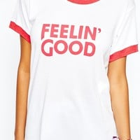 Camp Collection Retro Ringer T-Shirt Feelin Good Print