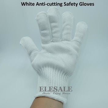 1 Pair White Working Safety Gloves Cut-Resistant Protective Stainless Steel Wire Butcher Anti-Cutting Gloves