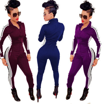 Women spring&fall fashion sports jumpsuits and rompers full sleeve long pants zippers bodysuits womens casual jumpsuits TM299