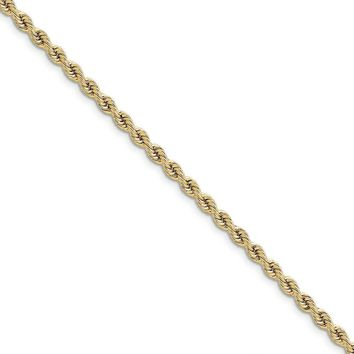 14k Yellow Gold 3.65mm Solid Rope Chain Bracelet or Anklet, 9 Inch