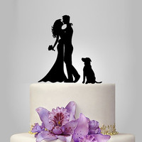 wedding Cake Topper Silhouette,  your dog Wedding Cake Topper, Bride and Groom Cake Topper, mr mrs wedding cake topper, acrylic cake topper