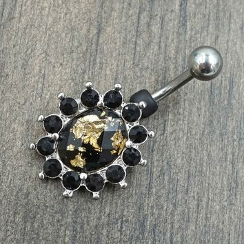 Gold and Black Belly Button Rings