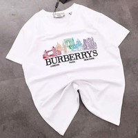 Burberry Summer Fashion New Embroidery Letter Pattern Top T-Shirt White