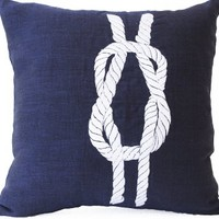 """Amore Beaute Handcrafted Blue Linen Pillowcase - Navy Pillow Cover with Nautical Theme Knot Embroidery - White Knot Embroidered Pillow Cover - Beach Decor Pillow Covers - Gift - Decorative Throw Pillow Cover - Accent Pillow Cover - Toss Pillow Cover (16"""" x"""