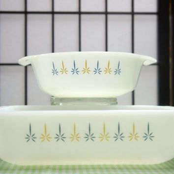 "Anchor Hocking Fire King ""Candle Glow"" milk glass 1qt casserole and 1qt loaf dish *ON SALE* was 17.99"