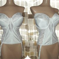 Vintage 70s MERRY WIDOW Bustier Bra Corset 42DD Girdle & Garters White Satin Lace