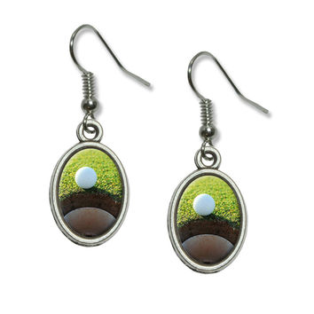 Golf Ball and Hole - Golfing Dangling Drop Oval Earrings