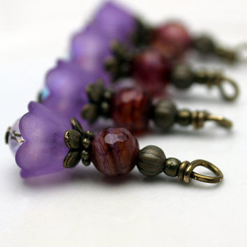 Vintage Style Purple Baby Bell Lucite Flower with Agate Gemstone Bead Dangle Charm Drop Set - 4 Piece Set