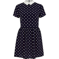 River Island Womens Navy polka dot tea dress
