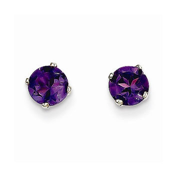 14k White Gold Round Amethyst Birthstone Earrings