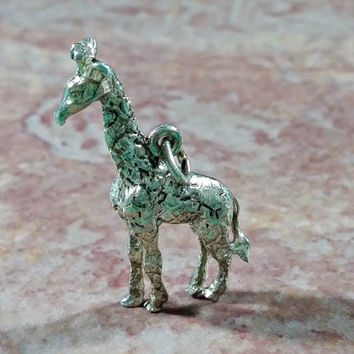 Vintage Silver Charm Giraffe Tall Oversized Bracelet Charm or Necklace Pendant for Chain Bracelet Oxidized Sterling Silver Fun Gift