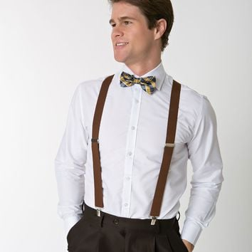 Retro Style Brown Adjustable Suspenders