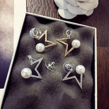 Pearls Star Vintage Strong Character Earrings [10399365908]