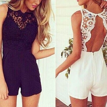 2016 summer women sexy lace floral patchwork playsuit backless black bodycon blusa romper off shoulder O-neck overall