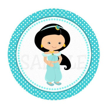 Jazmin, aladdin inspired Stickers, Cupcake Topper, Tags, great for birthday partys. Digital file