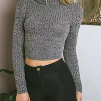 Deep Gray High Neck Long Sleeve Knit Cropped Jumper