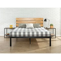 King size Modern Metal Platform Bed Frame with Wood Headboard and Slats