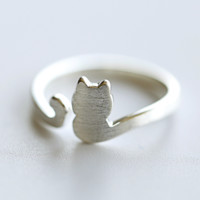 Lovely Cat Tail Ring - 925 Sterling Silver