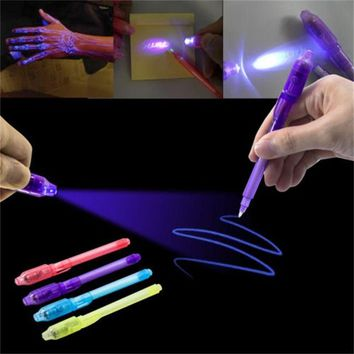 3PCS Baby Learning Drawing Magic Highlighters 2 in 1 UV Black Light Combo Creative Stationery Invisible Ink Pen Highlighter Toys