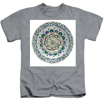 An Ottoman Iznik Style Floral Design Pottery Polychrome, By Adam Asar, No 18 - Kids T-Shirt