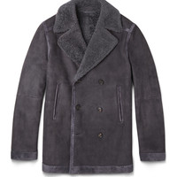 Brioni - Double-Breasted Suede-Trimmed Shearling Jacket | MR PORTER