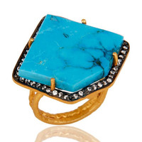 Designer Turquoise Ring Crafted In Sterling Silver With Gold Plated
