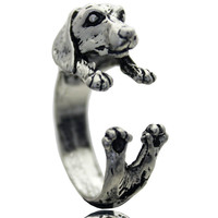 Dachshund Adjustable Animal Rings Dog Finger Wrap Jewelry Puppy Sausage Antique Silver Ring For Women Vintage Dog Jewelry