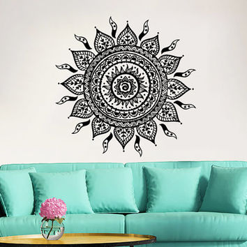 Mandala wall decal yoga studio vinyl sticker decals ornament moroccan pattern namaste lotus flower home decor