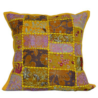 Yellow India Vintage Patch Pattern Cotton Toss Pillow Cover on RoyalFurnish.com