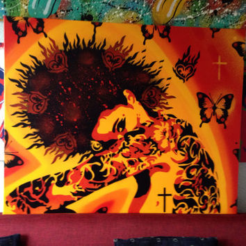 Tattooed women painting,tattooed heart,stencil art,spray paint art,canvas,sunshine,red,yellow,urban,punk,handmade,wall art,Europe,graffiti