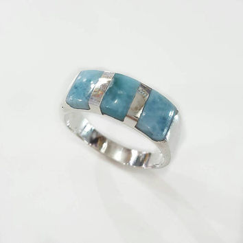 Men ring larimar gemstone silver ring man jewelry gift for him mens blue gem stone anniversary genuine stone pectolite boy turquoise size 10