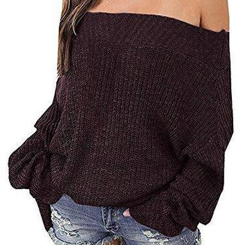 Shining4U Fashion Women's Off Shoulder Batwing Sleeve Loose Pullover Sweater Knit Jumper