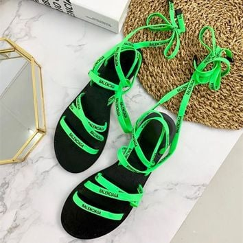 Balenciaga Lace Flat Sandals with printed Balenciaga laces