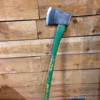 Vintage Black Raven Axe Head on Green Handle