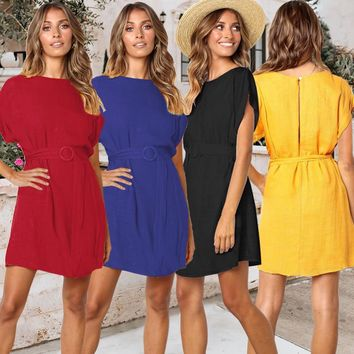 2019 new round neck solid color with shoulder sleeves loose professional pullover dress