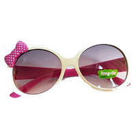 Girls White Sunglasses w/ Pink Dot Bow and Smiley Face PInk Arms (UV400)