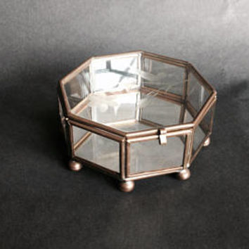 Shop Vintage Glass Jewelry Box on Wanelo