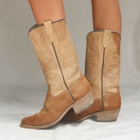VINTAGE Brown Suede Western Boot