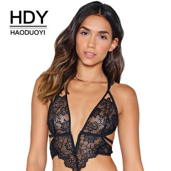 Sexy Black Lace Bra Women Out Mesh Semi Sheer Adjustable Straps Soft Bralettes Lady Breathable Underwears