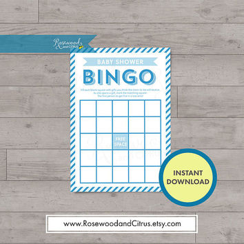 Blue Baby Shower, Baby Shower Bingo, Baby Shower Games, Baby Shower for a Boy, Matching Baby Shower, Blue Stripes Baby Shower Printables