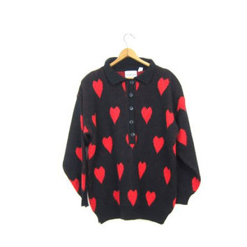 80s HEARTS Sweater Oversized Black Red Graphic Knit Pullover Slouchy Oversize Henley Sweater Button Up Collared Sweater Womens Large