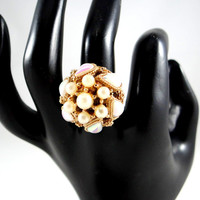 Vintage Faux Pearl Statement Ring by Act II