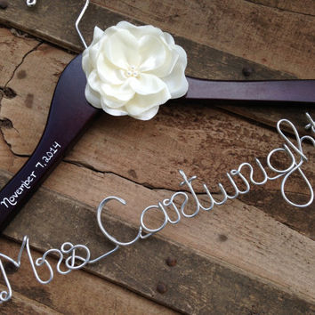 SALE Wedding Dress Hanger with Satin Flower, Many Colors, Bride Hanger, Bridal Hanger, Name Hanger, Wedding Hanger, Bride Shower Gift