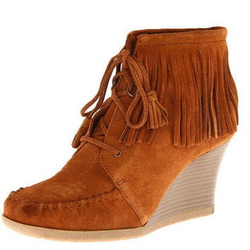 2014 Autumn High Fashion Designer Genuine Leather Brown Black Lace Up Suede Fringe Wedge Boots Moccasin Ankle Booties For Women