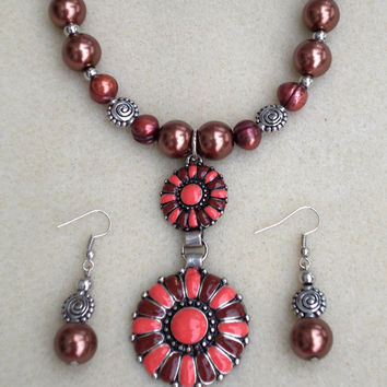 Carmela Treats-Handmade Jewelry Set-2 Piece Ladies Necklace & Earrings-Beadwork-Handcrafted-Trending-Ladies Jewelry-Fashion-Gifts for Her