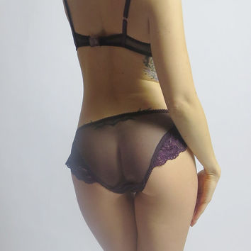 sheer panties with lace trim - SEA GLASS - made to order