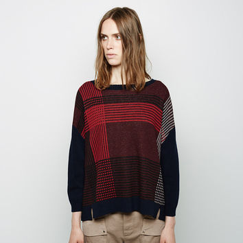 Felted Wool Plaid Intarsia Pullover by Band of Outsiders