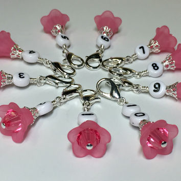 Pink Flower Row Counter Stitch Markers- Set of 10