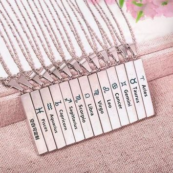 Zodiac stainless Steel Bar Necklace